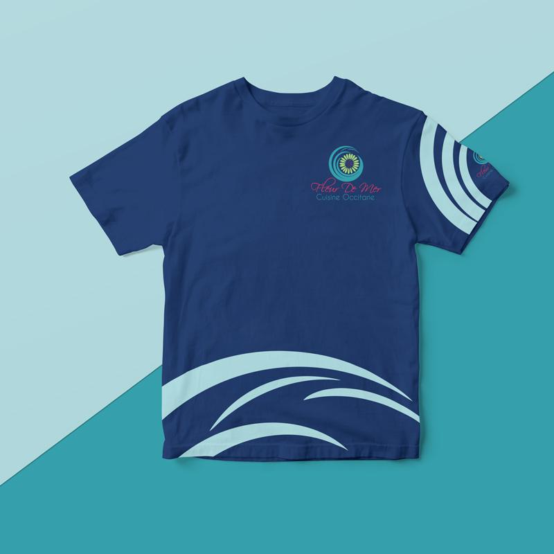 tee-shirt pour le personnel d'un restaurant terre et mer
