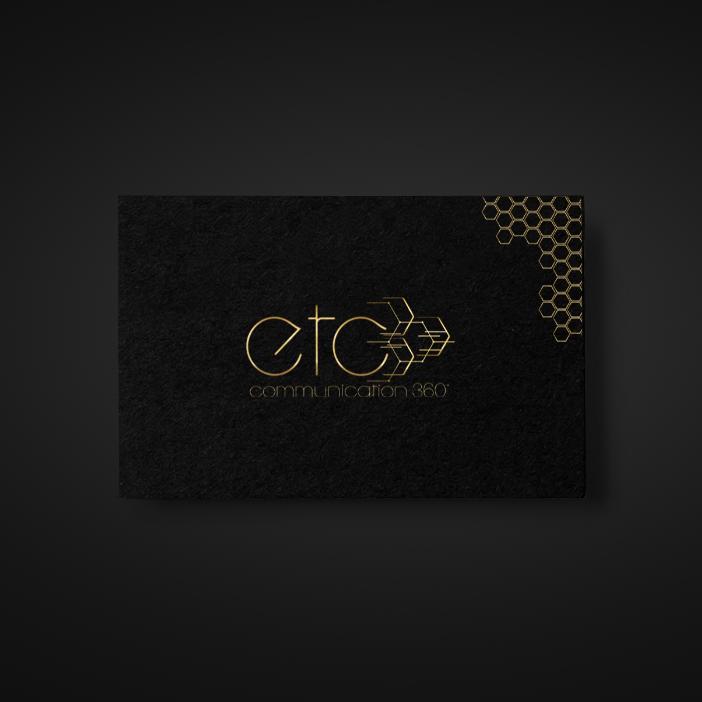 """exemple de carte de visite noire avec logo or """"etc communication 360"""""""
