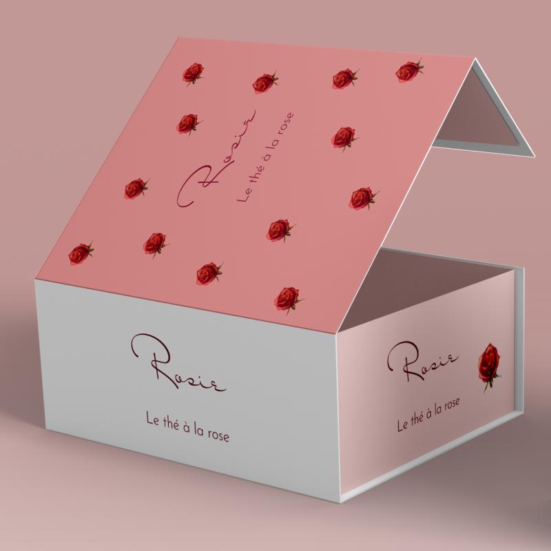 boite de thé illustrée à la main avec des roses