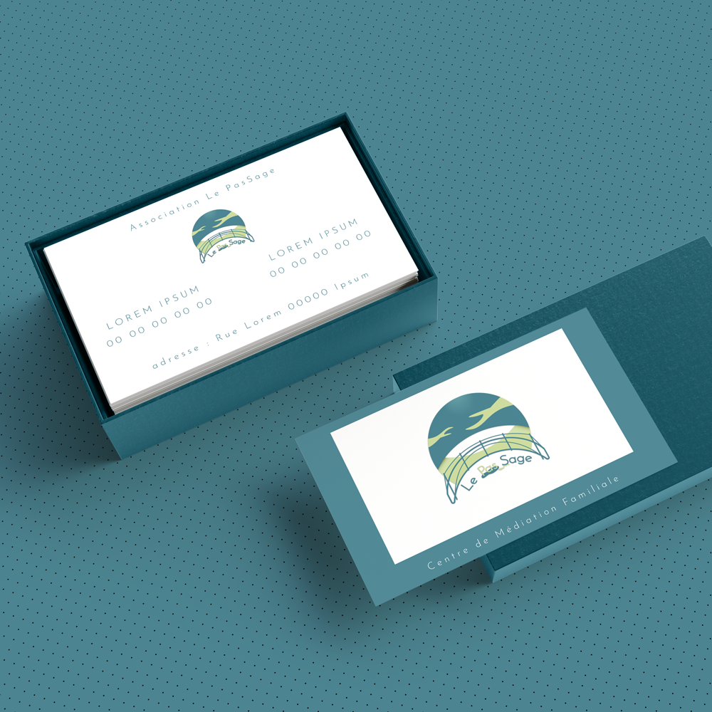 logo d'association sur carte de visite bleu-vert