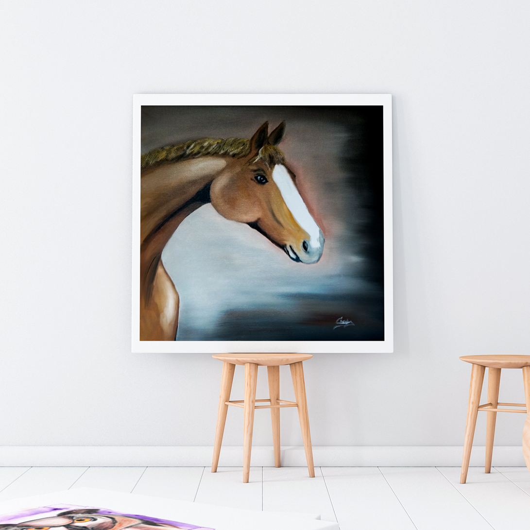 cadre peinture à l'huile tête de cheval réaliste